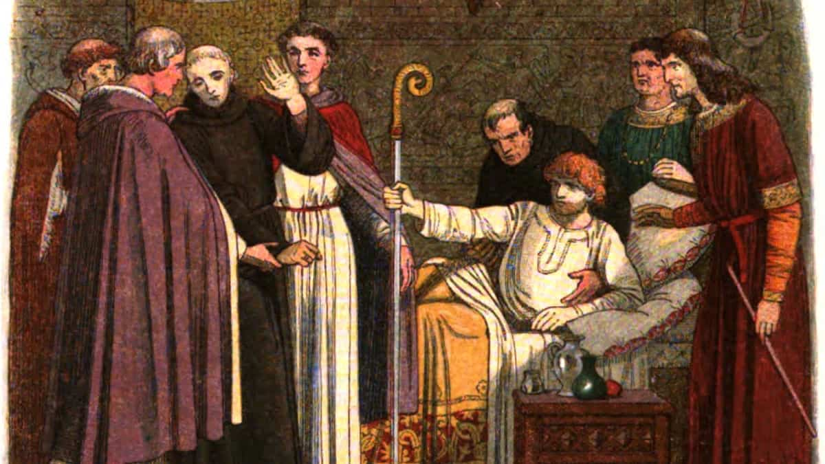 A 19th-century portrayal of Anselm being dragged to the cathedral by the English bishops