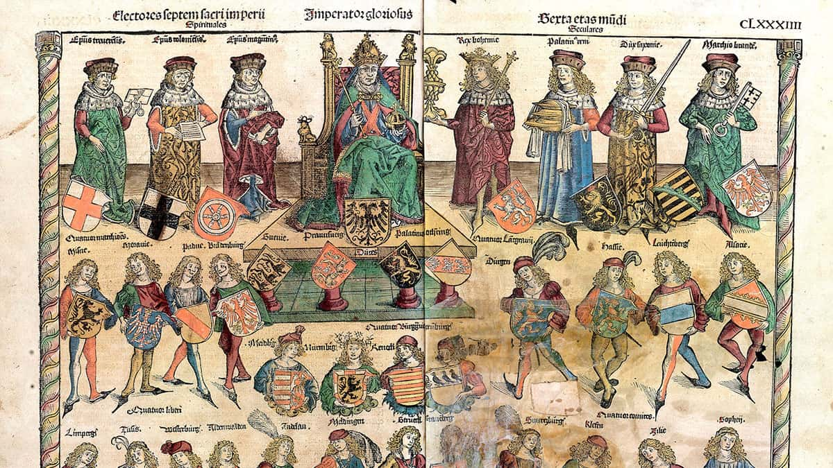 An illustration from Schedelsche Weltchronik depicting the structure of the Reich: The Holy Roman Emperor is sitting; on his right are three ecclesiastics; on his left are four secular electors.